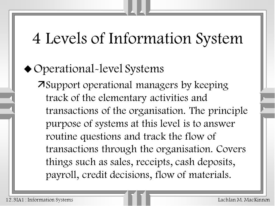 4 Levels of Information System