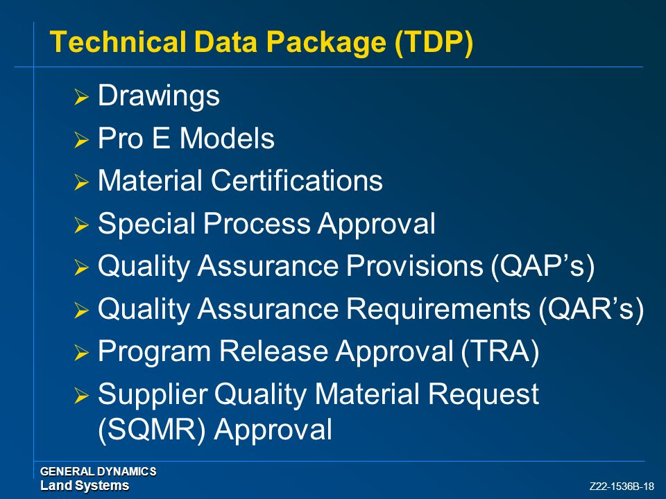 Technical Data Package (TDP)