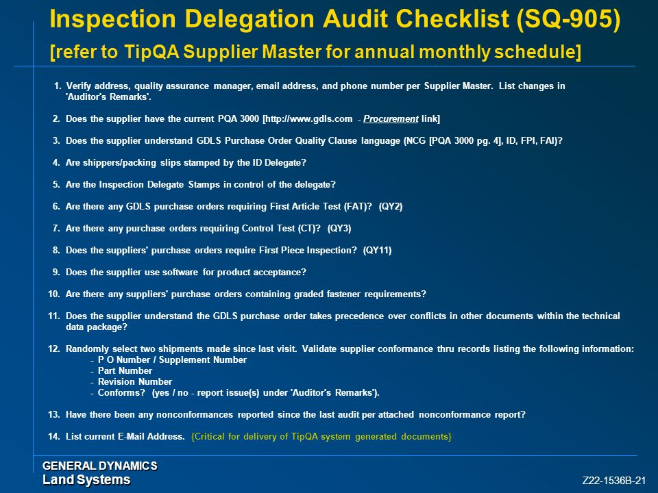 Inspection Delegation Audit Checklist (SQ-905) [refer to TipQA Supplier Master for annual monthly schedule]