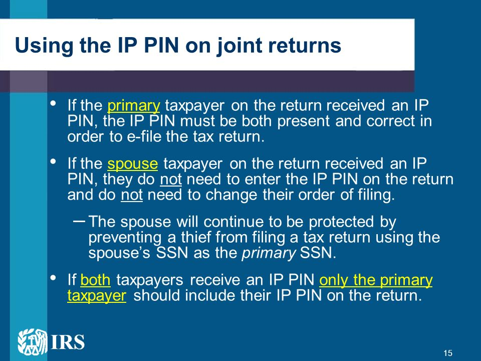 Using the IP PIN on joint returns