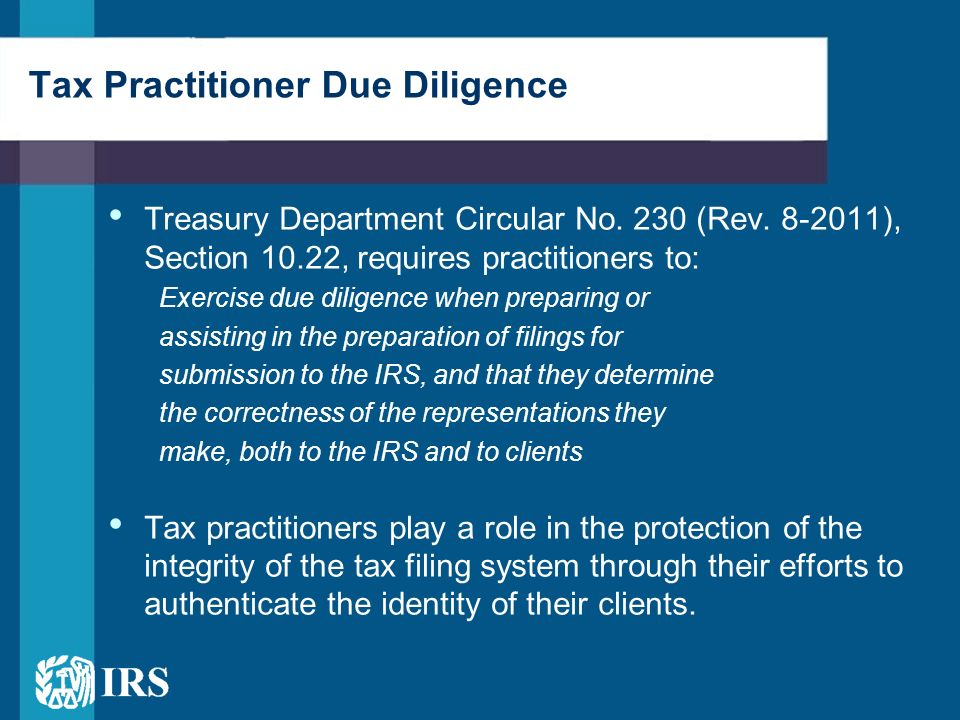 Tax Practitioner Due Diligence