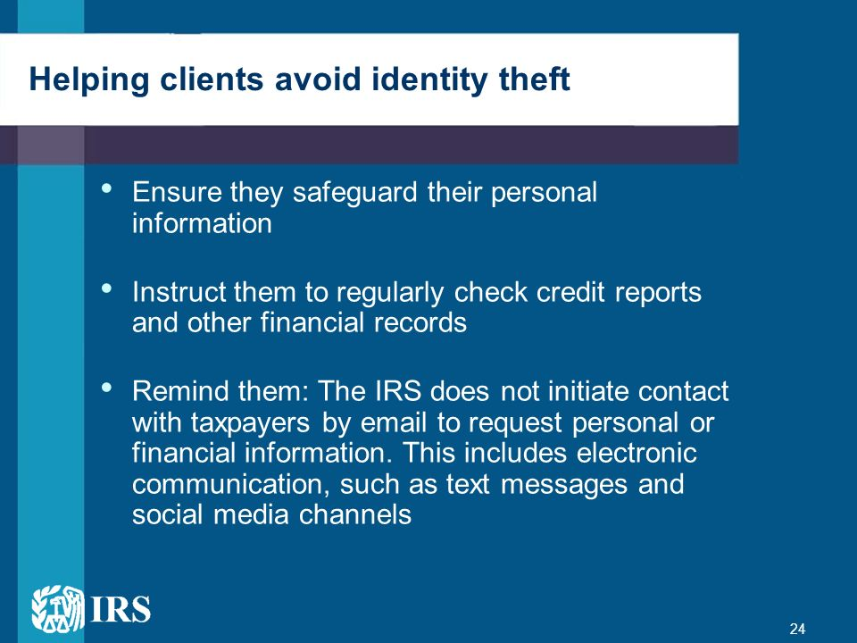 Helping clients avoid identity theft