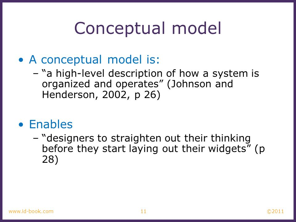 Conceptual model A conceptual model is: Enables
