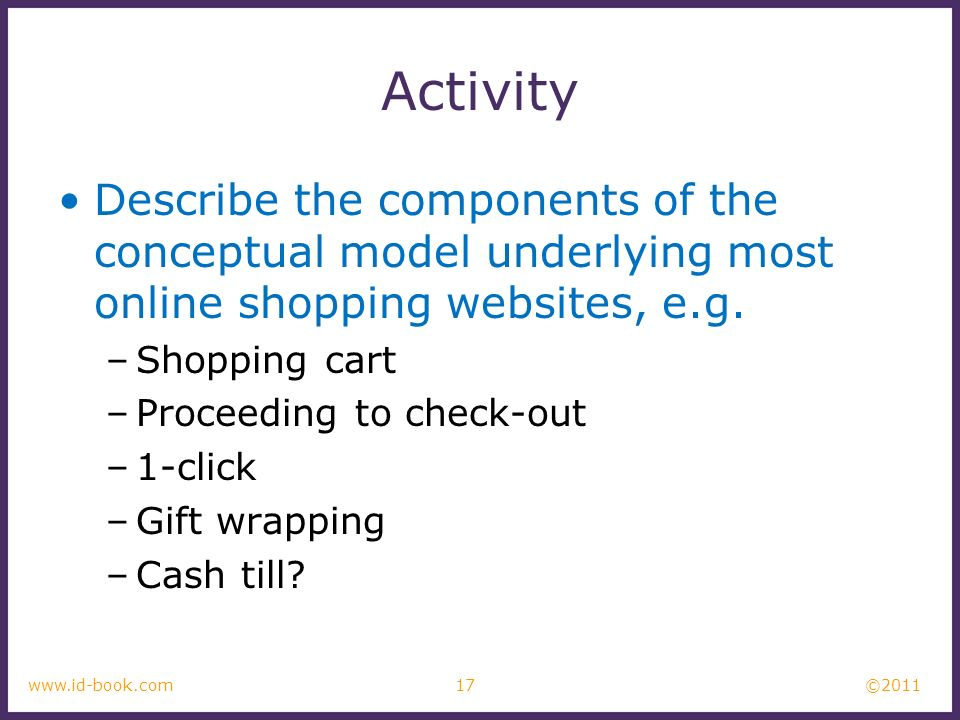 Activity Describe the components of the conceptual model underlying most online shopping websites, e.g.