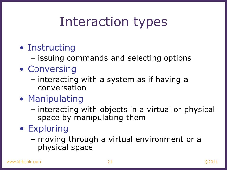 Interaction types Instructing Conversing Manipulating Exploring