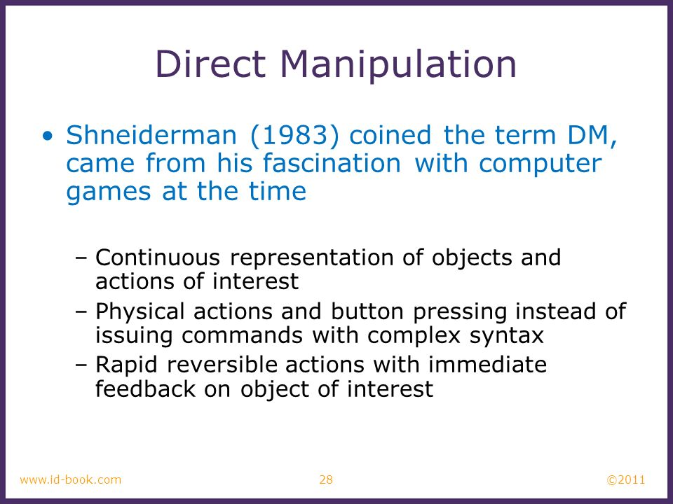Direct Manipulation Shneiderman (1983) coined the term DM, came from his fascination with computer games at the time.