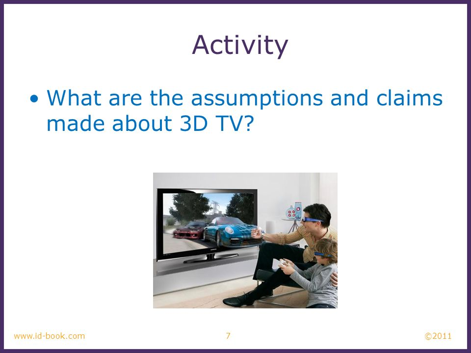 Activity What are the assumptions and claims made about 3D TV