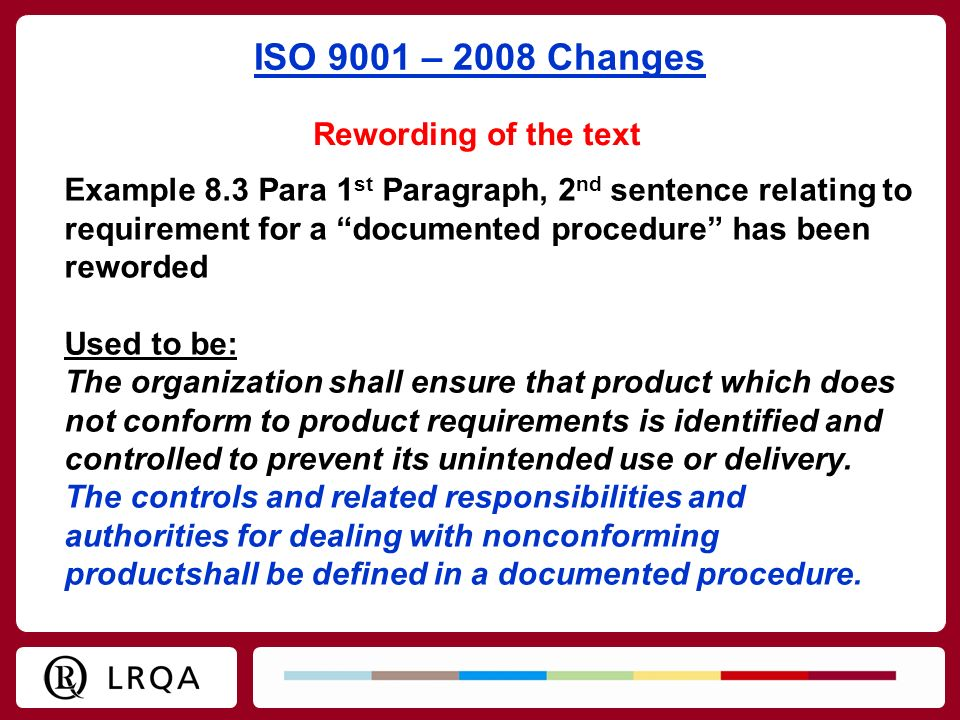 ISO 9001 – 2008 Changes Rewording of the text
