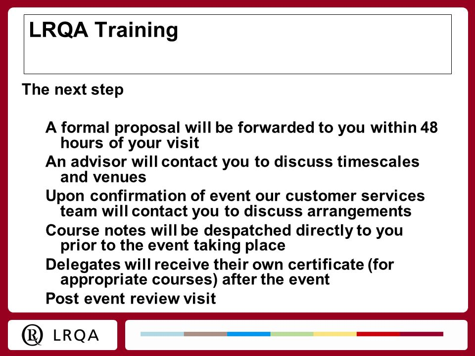 LRQA Training The next step
