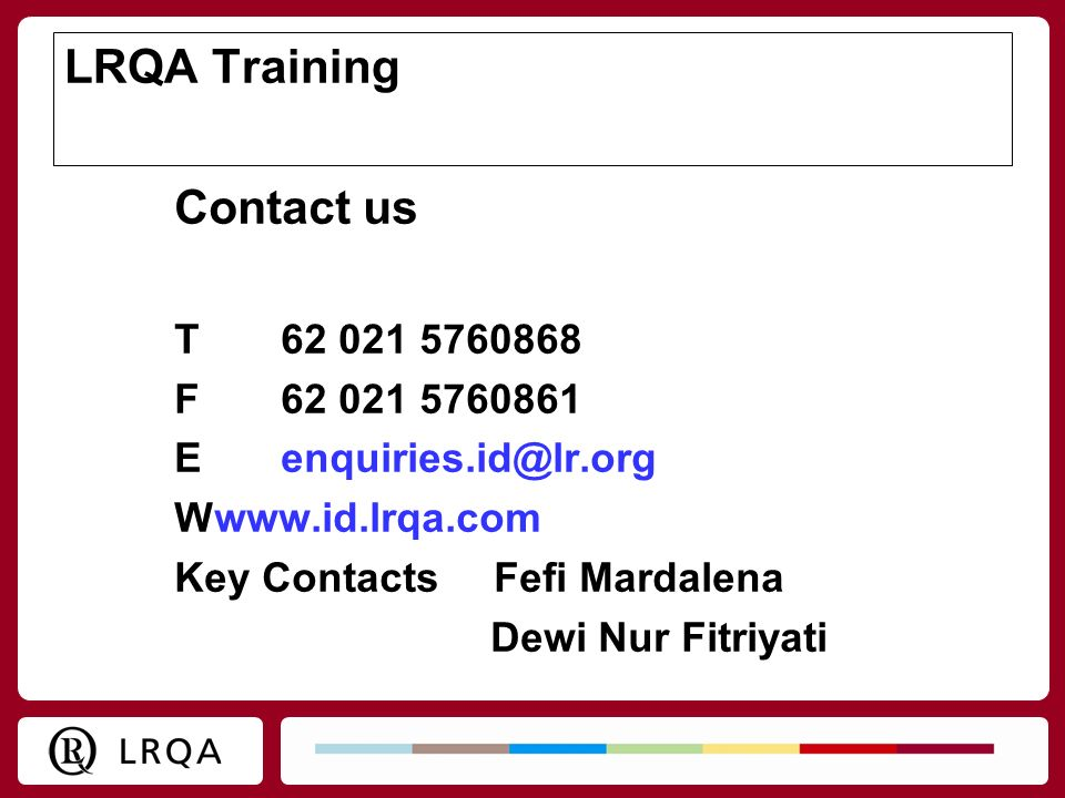 LRQA Training Contact us T F