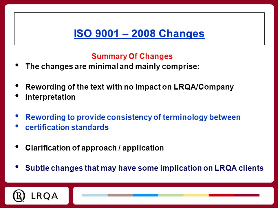 ISO 9001 – 2008 Changes Summary Of Changes