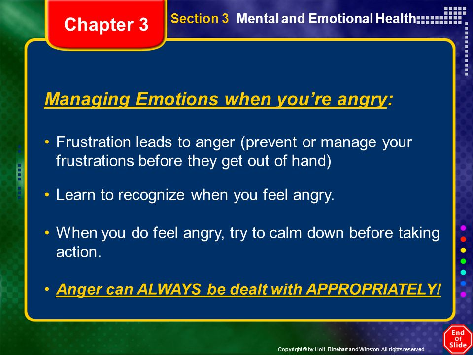 Managing Emotions when you're angry: