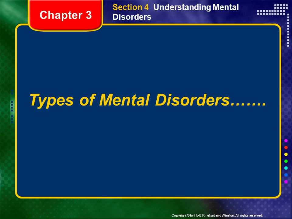 Types of Mental Disorders…….