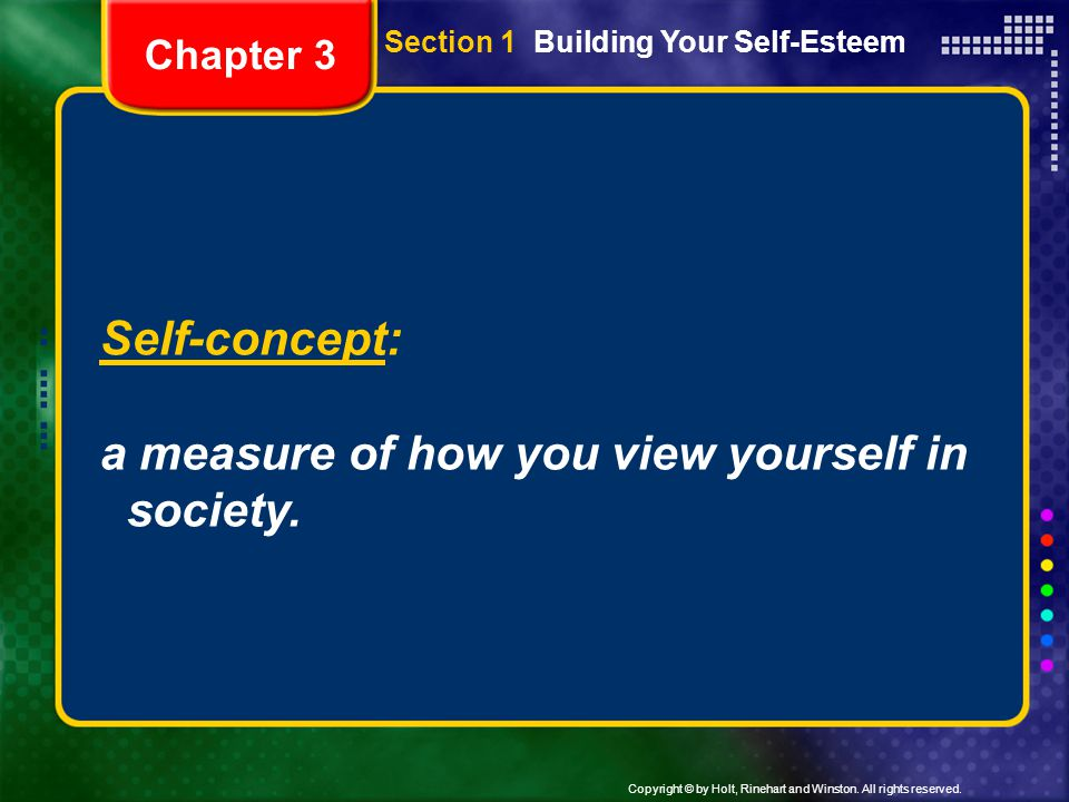 a measure of how you view yourself in society.