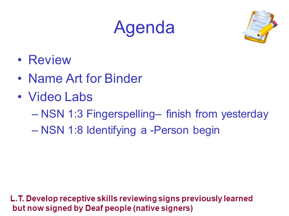Agenda Review Name Art for Binder Video Labs