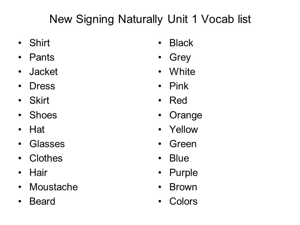 New Signing Naturally Unit 1 Vocab list
