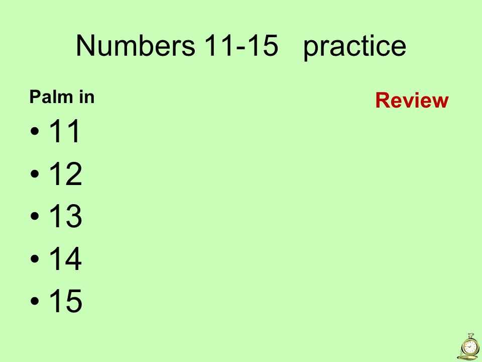 Numbers practice Palm in Review