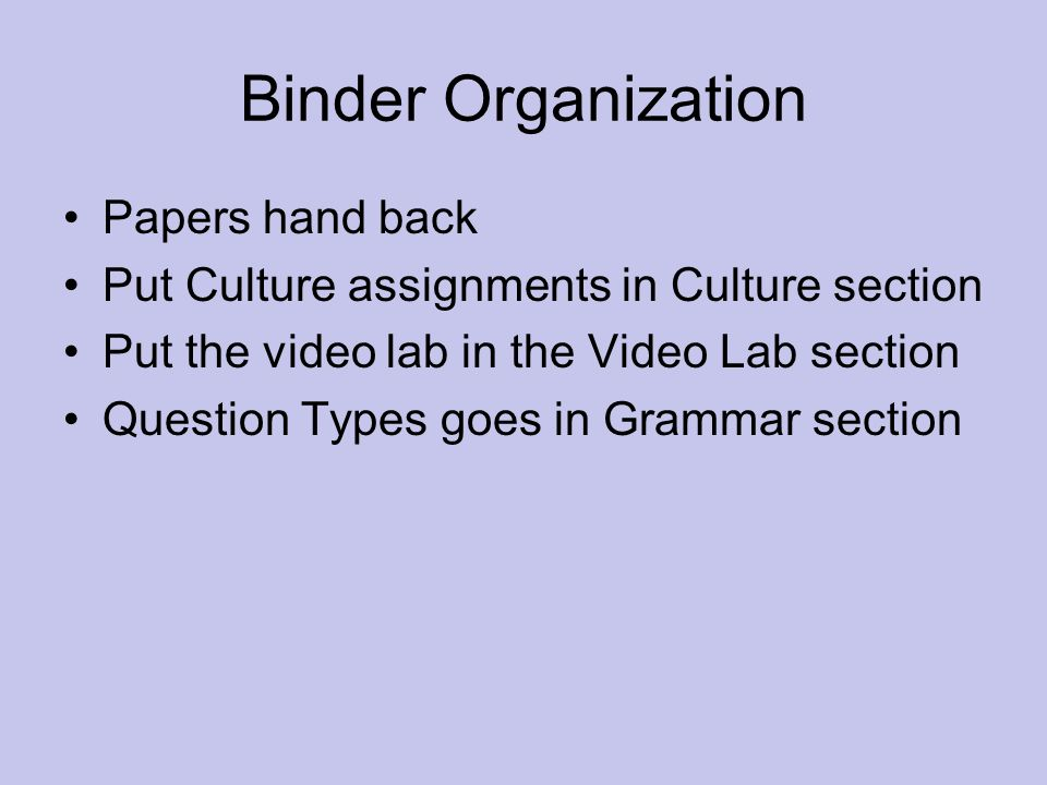 Binder Organization Papers hand back