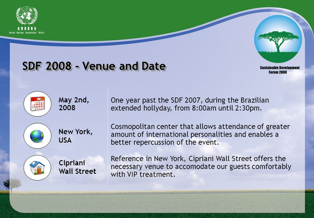SDF Venue and Date One year past the SDF 2007, during the Brazilian extended hollyday, from 8:00am until 2:30pm.