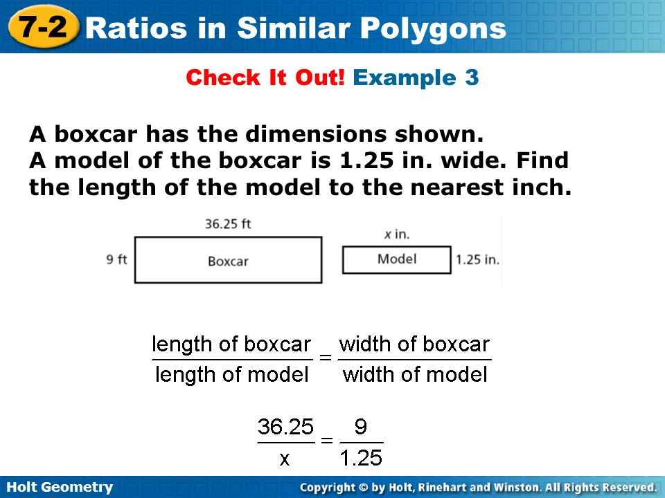 Check It Out. Example 3 A boxcar has the dimensions shown.
