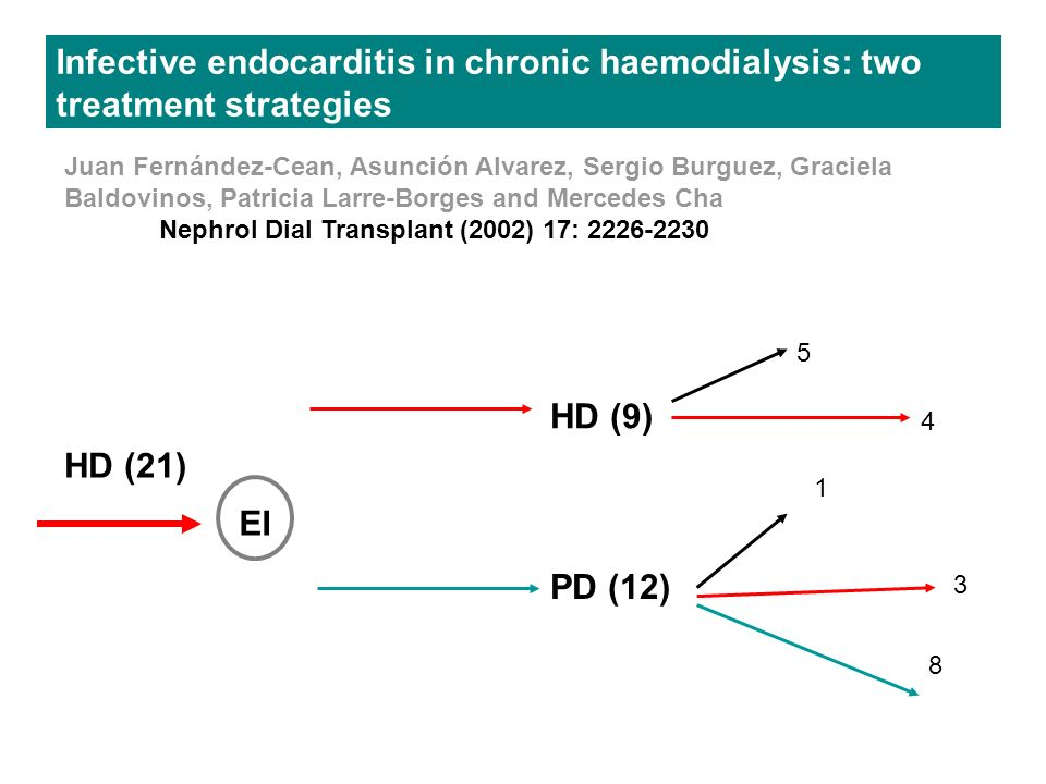 Infective endocarditis in chronic haemodialysis: two treatment strategies