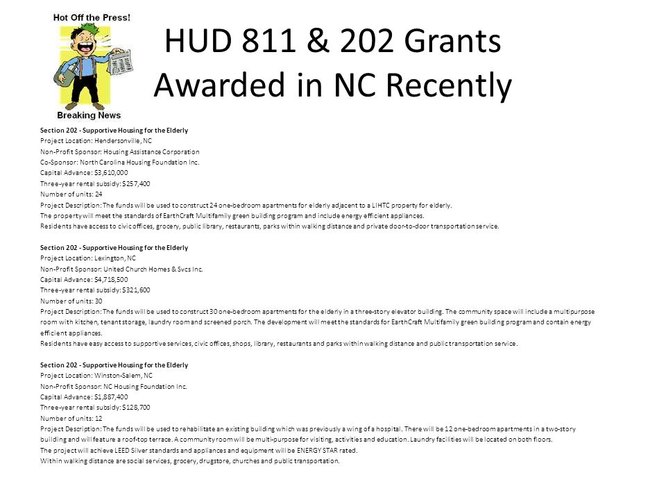 HUD 811 & 202 Grants Awarded in NC Recently