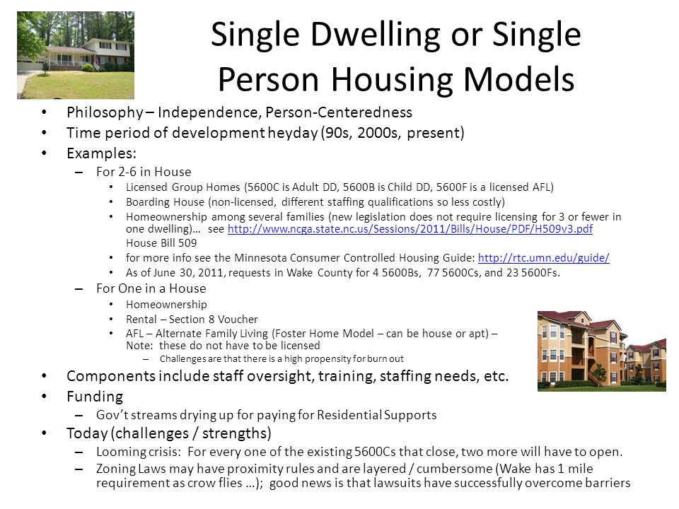 Single Dwelling or Single Person Housing Models