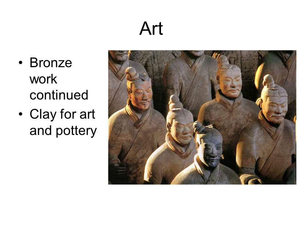 Art Bronze work continued Clay for art and pottery