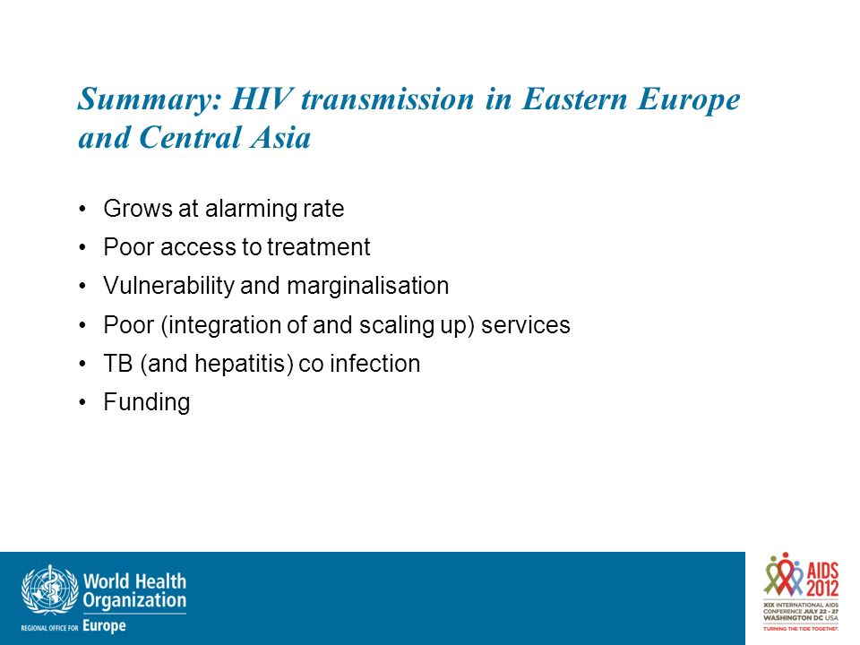 Summary: HIV transmission in Eastern Europe and Central Asia