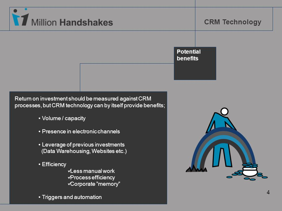 Potential benefits. Return on investment should be measured against CRM processes, but CRM technology can by itself provide benefits;