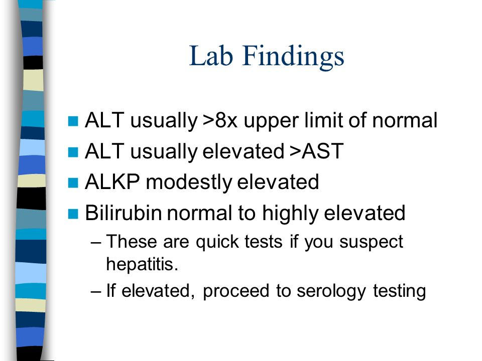 Lab Findings ALT usually >8x upper limit of normal