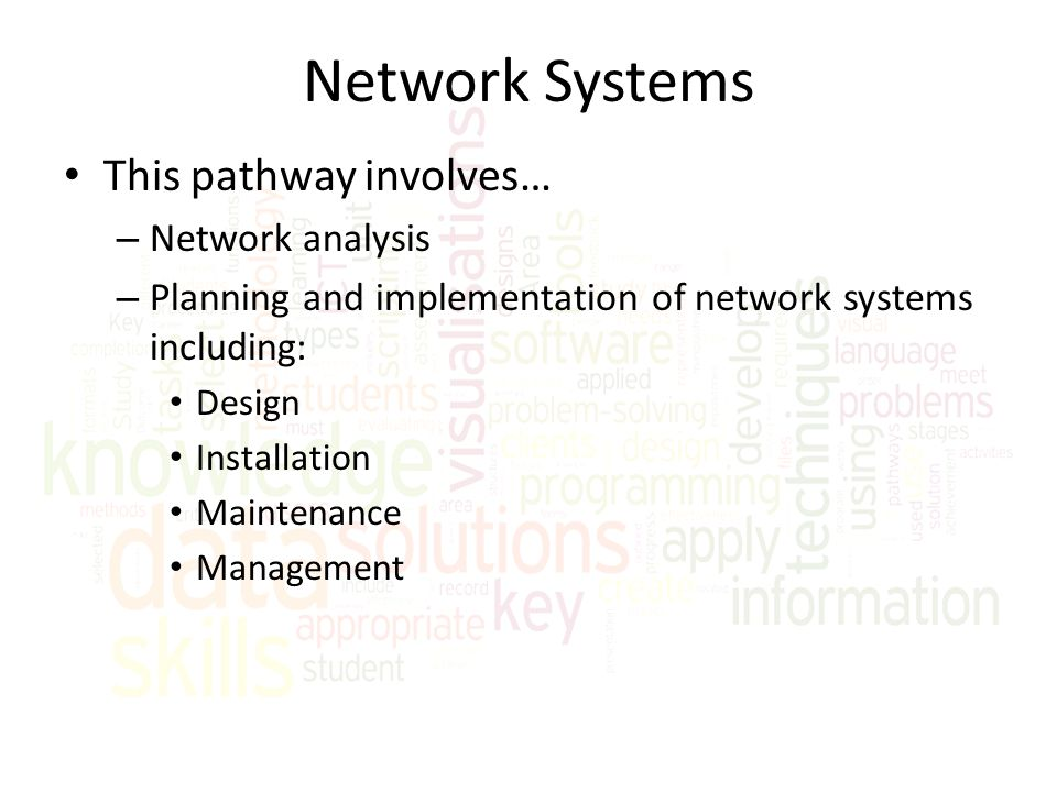 Network Systems This pathway involves… Network analysis
