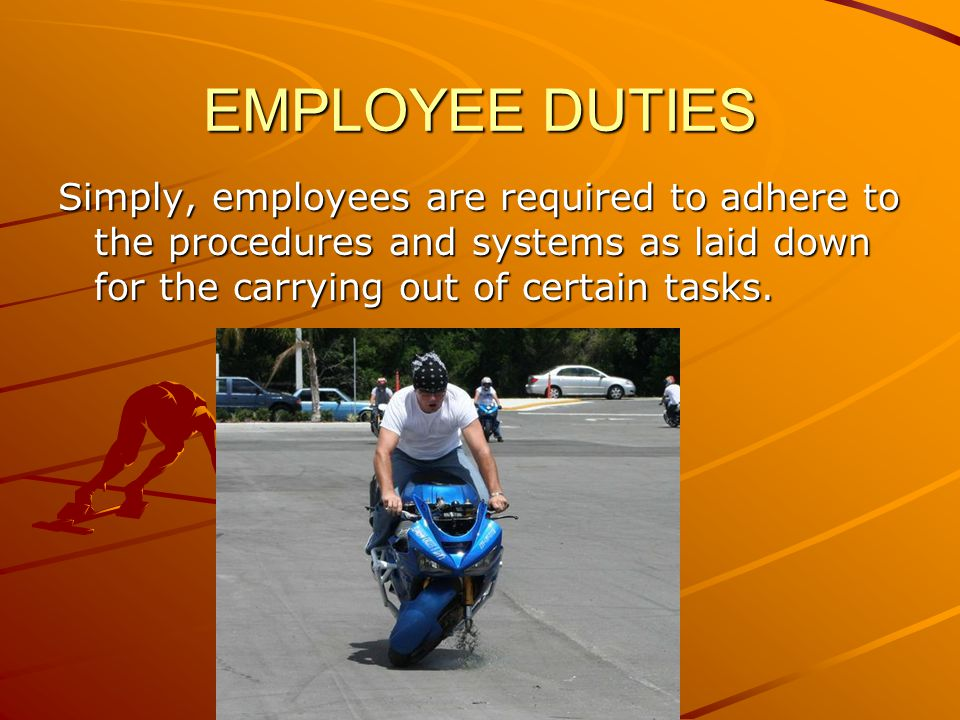 EMPLOYEE DUTIES Simply, employees are required to adhere to the procedures and systems as laid down for the carrying out of certain tasks.