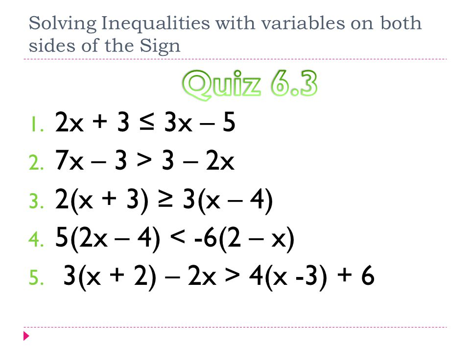 Solving Inequalities With Variables On Both Sides Of The Sign Ppt