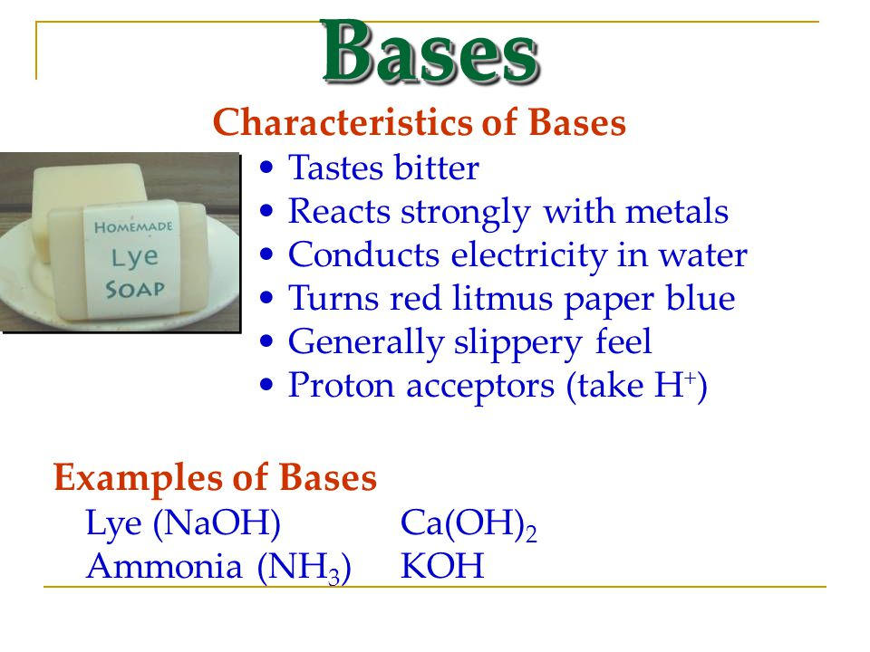 Bases Characteristics of Bases Examples of Bases Tastes bitter