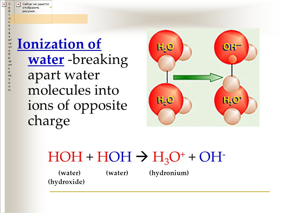 Ionization of water -breaking apart water molecules into ions of opposite charge