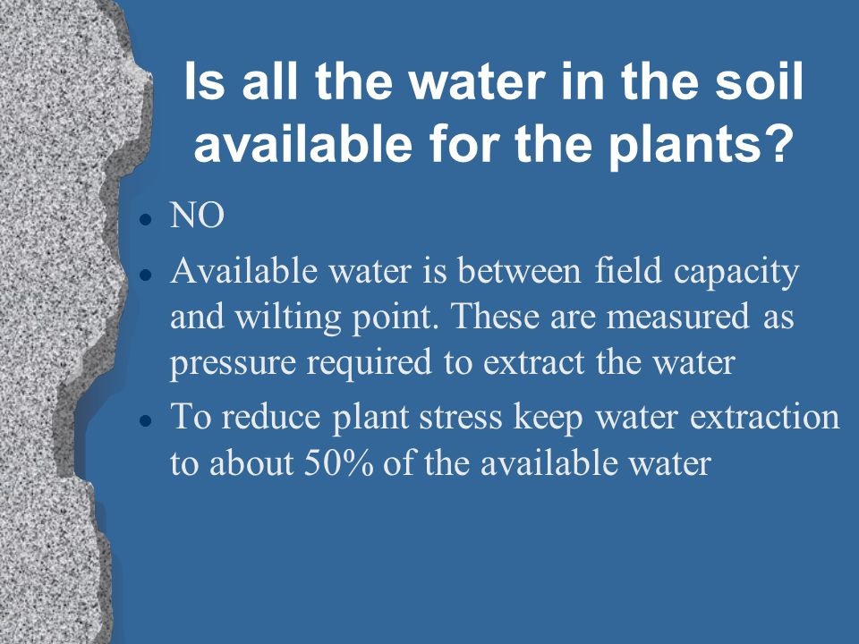 Is all the water in the soil available for the plants