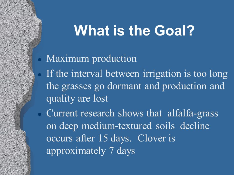 What is the Goal Maximum production