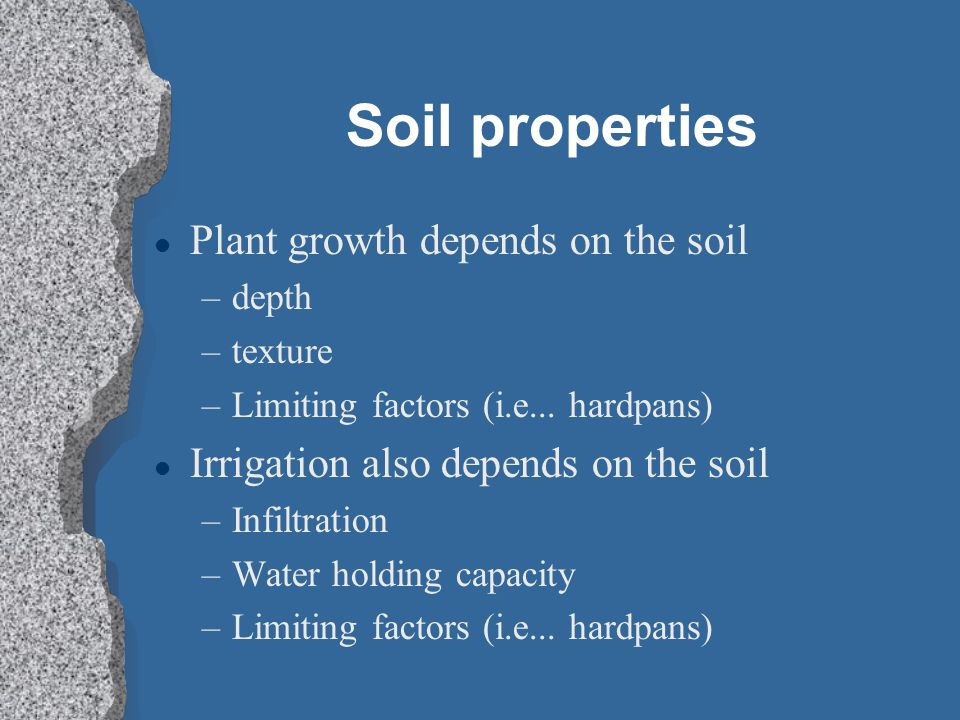 Soil properties Plant growth depends on the soil