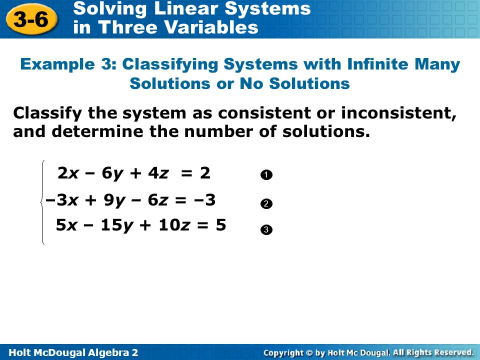 Example 3: Classifying Systems with Infinite Many Solutions or No Solutions