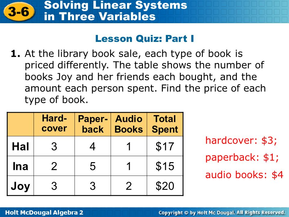 Hal $17 Ina 2 5 $15 Joy $20 Lesson Quiz: Part I 1.