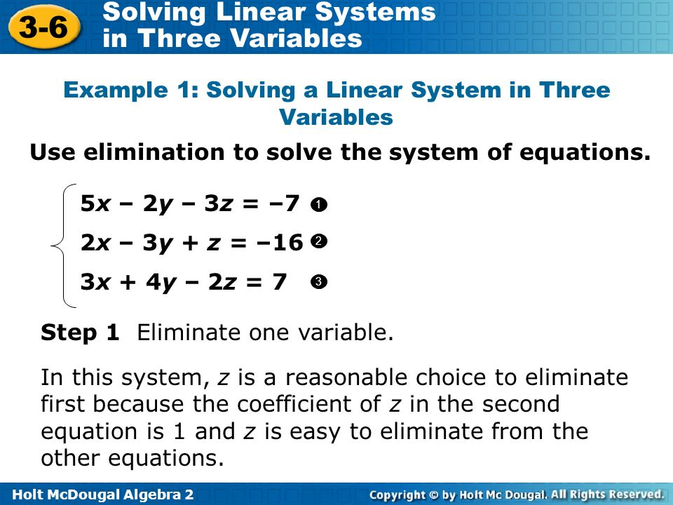 Example 1: Solving a Linear System in Three Variables