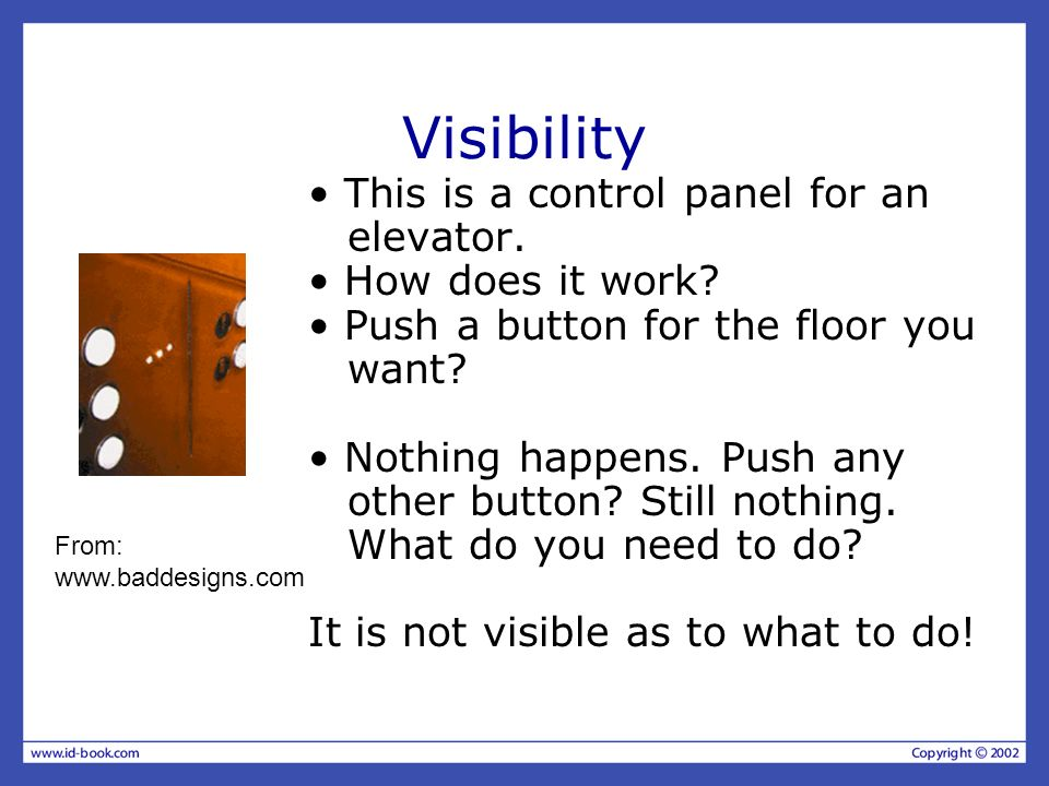 Visibility • This is a control panel for an elevator.