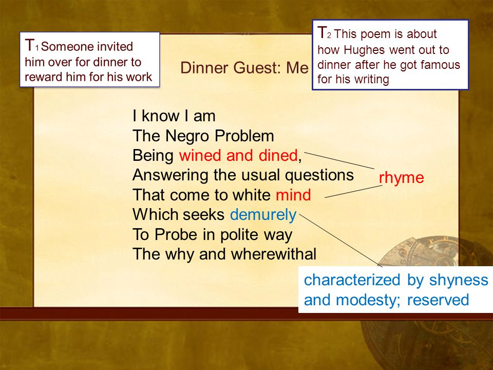 T2 This poem is about how Hughes went out to dinner after he got famous for his writing