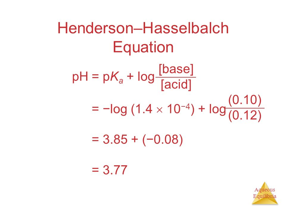 Henderson–Hasselbalch Equation