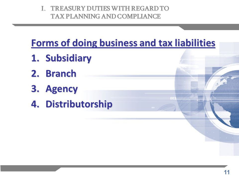 Forms of doing business and tax liabilities 1. Subsidiary 2. Branch