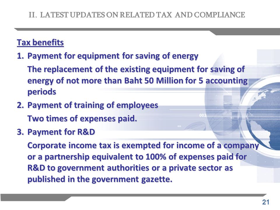 1. Payment for equipment for saving of energy