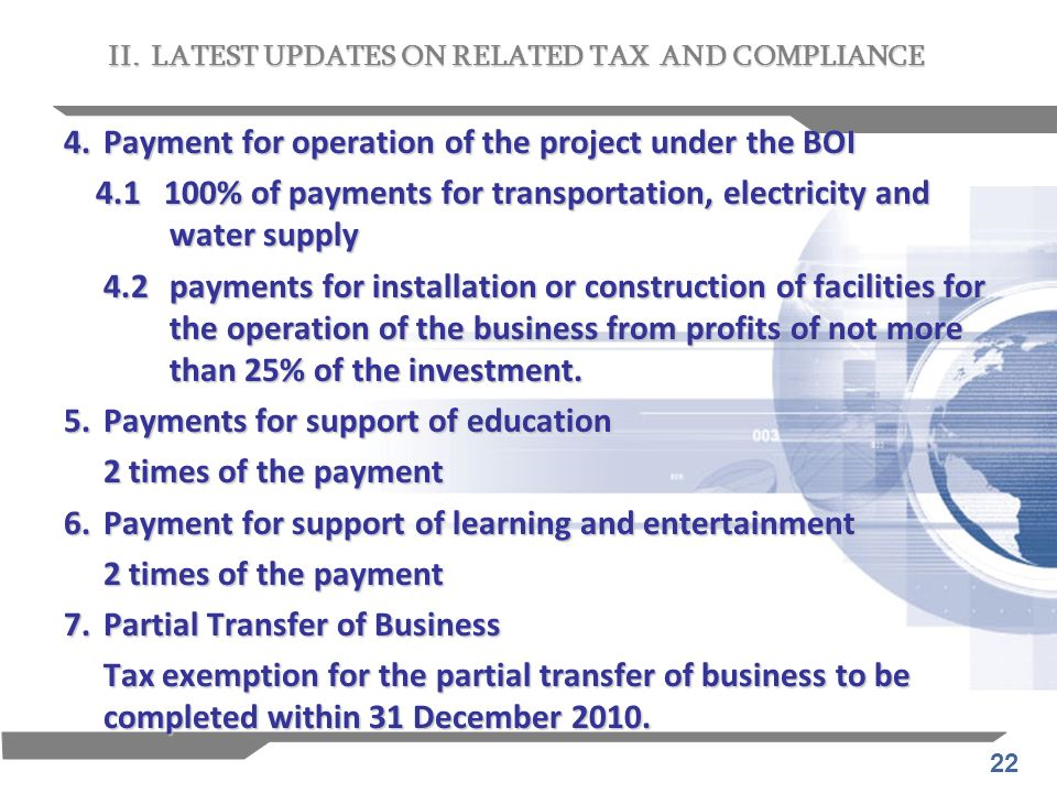 4. Payment for operation of the project under the BOI