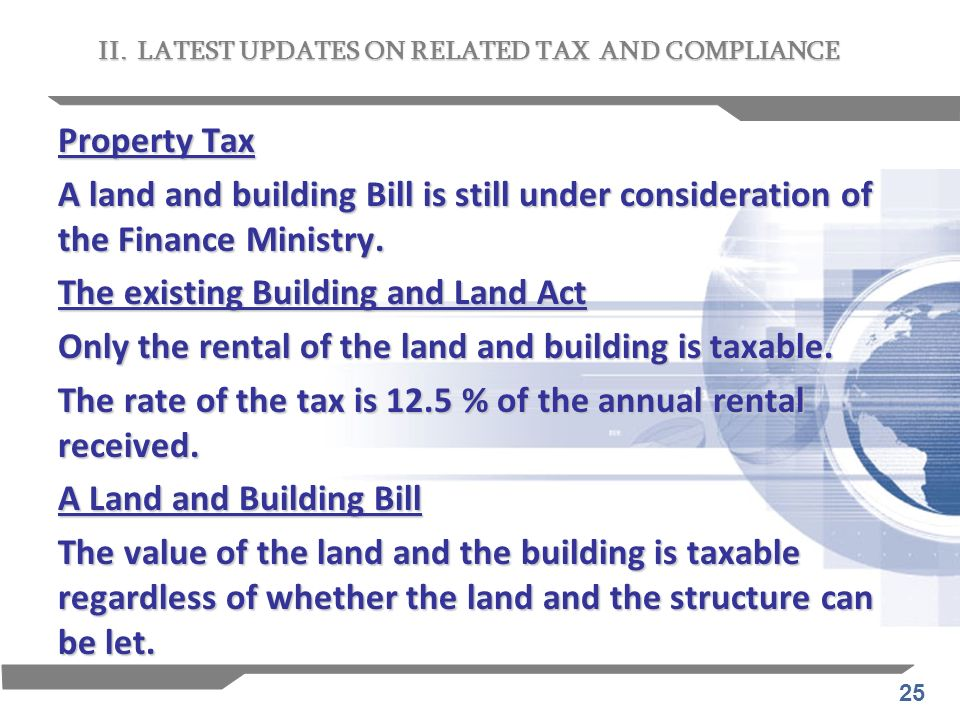 The existing Building and Land Act