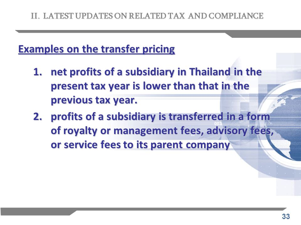 Examples on the transfer pricing